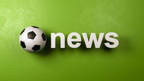 Soccer Ball and News Text Against Wall royalty free illustration
