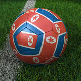 Soccer Ball with North Korean Flag Stock Image