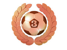Soccer ball with the number 3 in the bronze Laurel wreath Stock Photo