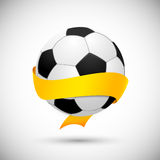 Soccer ball with orange ribbon Stock Photo