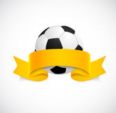 Soccer ball with orange ribbon Royalty Free Stock Photo