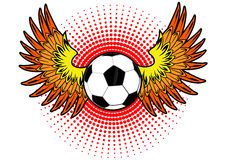 Soccer Ball orange wings Stock Images
