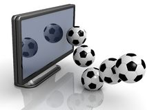 Soccer Ball out the TV Royalty Free Stock Image
