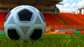 Soccer Ball in Outdoor Stadium Stock Photos