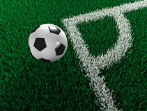 Soccer ball outside field Stock Images