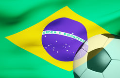 Soccer ball over the Brazil flag 3d Royalty Free Stock Image