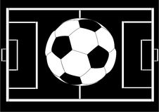 Soccer ball over field layout Royalty Free Stock Image