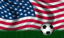 Soccer ball over green grass Royalty Free Stock Image