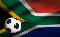 Soccer ball over the south africa flag 3d Stock Images