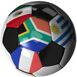 Soccer ball over white with 4 flags - Group A 2010. High Quality, hi-res 3D render of soccer ball with the four flags of the competing teams in group A of the Royalty Free Stock Photography