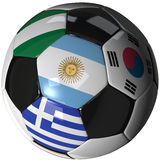 Soccer ball over white with 4 flags - Group B 2010. High Quality, hi-res 3D render of soccer ball with the four flags of the competing teams in group B of the Stock Photos