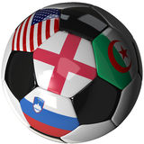 Soccer ball over white with 4 flags - Group C 2010. High Quality, hi-res 3D render of soccer ball with the four flags of the competing teams in group C of the Stock Photography