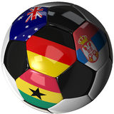Soccer ball over white with 4 flags - Group D 2010. High Quality, hi-res 3D render of soccer ball with the four flags of the competing teams in group D of the Stock Image