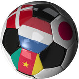 Soccer ball over white with 4 flags - Group E 2010. High Quality, hi-res 3D render of soccer ball with the four flags of the competing teams in group E of the Royalty Free Stock Photos