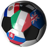 Soccer ball over white with 4 flags - Group F 2010. High Quality, hi-res 3D render of soccer ball with the four flags of the competing teams in group F of the Royalty Free Stock Photography