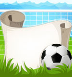Soccer ball  with paper scroll Royalty Free Stock Photos