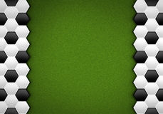 Soccer ball pattern on green pattern Royalty Free Stock Photo