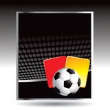 Soccer ball and penalty card on black halftone ad Stock Photo