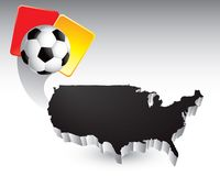 Soccer ball and penalty card by united states icon Royalty Free Stock Photo
