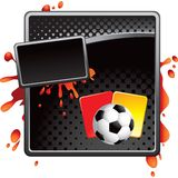 Soccer ball and penalty cards on black halftone ad Royalty Free Stock Photos