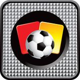 Soccer ball and penalty cards on silver web button Stock Photos