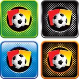 Soccer ball and penalty cards on web buttons Royalty Free Stock Photo