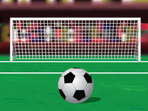 Soccer ball on the penalty spot. At the stadium Stock Photo