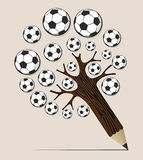 Soccer ball pencil tree concept Stock Image