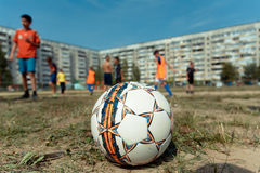 Soccer ball. Photo of a soccer ball, which played during children's football tournament at the festival of street sport in Yoshkar-Ola Stock Photo