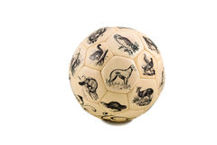Soccer ball with pictures of animals Stock Photography