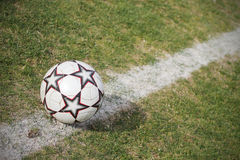 Soccer ball on pitch Stock Image