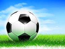 Soccer ball on the pitch Stock Photography