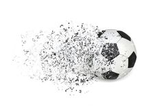 Soccer ball - Pixel disintegration effect. Isolated on white background Stock Images