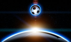 Soccer Ball Planet Rise Royalty Free Stock Photo