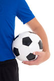 Soccer ball in player's hand over white Stock Photos