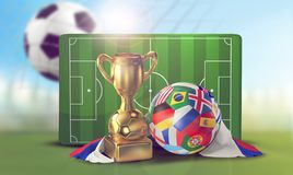 Soccer ball playing field and soccer net goal 3d illustration. Design Stock Images