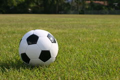 Soccer ball in playng field. Close up of soccer ball laying in green playing field Stock Image
