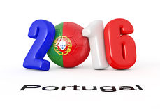 2016 with soccer ball.Portugal flag. 3d illustration Stock Images