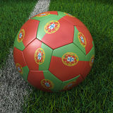 Soccer Ball with Portuguese Flag Stock Photography