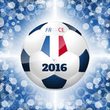 Soccer ball poster with blue background and french flag Stock Photos