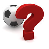 Soccer ball and question Stock Photos