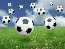 Soccer ball rain Royalty Free Stock Images