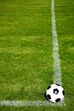 Soccer Ball Ready To Shoot. Perspective View Of A Soccer Ball On A Corner Square Royalty Free Stock Image