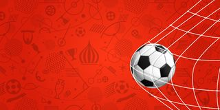 Soccer ball on red background. Football banner. Template Stock Images