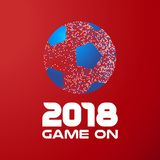 Soccer ball on red background with 2018 quote. Soccer ball made of colorful dots on red color background with 2018 typography quote. Ideal for football match or Stock Photography