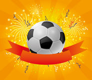 A soccer ball and a red ribbon. A soccer ball and a red ribbon on a background of fireworks Royalty Free Stock Photos