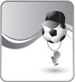 Soccer ball referee with a whistle Royalty Free Stock Photo