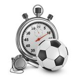 Soccer ball, referee whistle and stopwatch. On a white background. 3d rendering Royalty Free Stock Photography