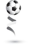 Soccer ball on a ribbon. Soccer ball attached to a white ribbon Royalty Free Stock Images