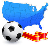 Soccer Ball with Ribbon and USA Map Stock Image